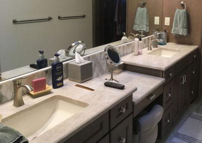 Granite Double Level Double Sink Countertops In Light Tan