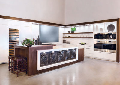 Kitchen Showroom By Essential Guide For Ernest Thompson- White Quartz Counters And Wood