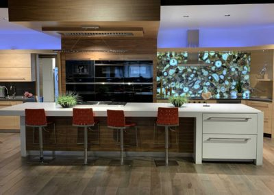 White Island Kitchen Counter With Red Barstools